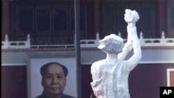 北京89民运期间矗立在天安门广场的民主女神像