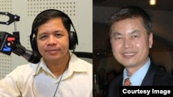 FILE: Mr. Yong Kim Eng, president of the People Center for Development and Peace (left) and Mr. Yap Kim Tung, president of Cambodian Americans for Human Rights and Democracy (right).