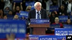 미국 민주당 대선 경선에 출마한 버니 샌더스 후보가 지난 8일 뉴저지주 유세에서 연설하고 있다.