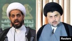 از راست به چپ، مقتدی صدر و قيس هادی سيد حسن الخزعلی