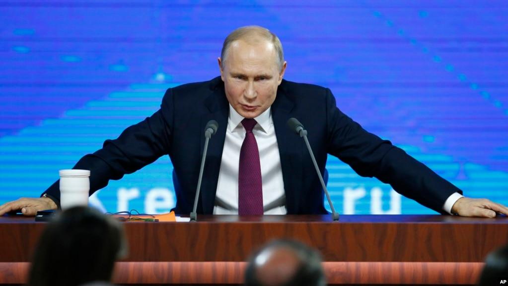 Президент России Владимир Путин на пресс-конференции в Москве. 20 декабря 2018 г.