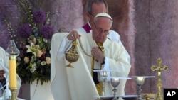 Đức Giáo Hoàng Phanxicô cử hành Thánh Lễ ở Brzegi, gần Krakow, Ba Lan, ngày 31 tháng 7 năm 2016.