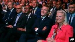 IBM's President and CEO Virginia Rometty attend the opening of the VivaTech gadget show in Paris, Thursday, May 24, 2018. Rometty is one of the few female business leaders in the U.S. (AP Photo/Michel Euler, Pool)