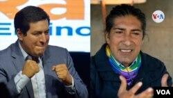 Imagen muestra a los candidatos presidenciales Andrés Arauz y Yaku Pérez, quienes irán a segunda vuelta que definirá al próximo presidente de Ecuador. [Combo: Lenny Castro/VOA/Agencias]]