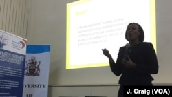 Linda Ochiel, commissioner of Kenya's National Cohesion and Integration Commission, speaks to about 60 students from institutions around Kenya on the topic of radicalization during the University Student Leaders Summit, held at the University of Nairobi on Nov. 23, 2016.