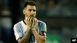 Lionel Messi de l'Argentine lors du match de qualification contre le Perou à Buenos Aires, Argentine, 5 octobre 2017.
