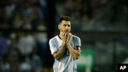 Lionel Messi après le match nul de 0-0 au Bombonera stadium contre le Perou en éliminatoires du Mondial 2018, Buenos Aires le 5 octobre 2017