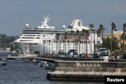 지난 6월 쿠바 아바나에 대형유람선이 정박해있다.