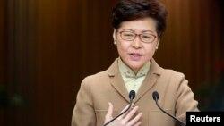香港行政長官林鄭月娥2020年1月7日在記者會上講話。