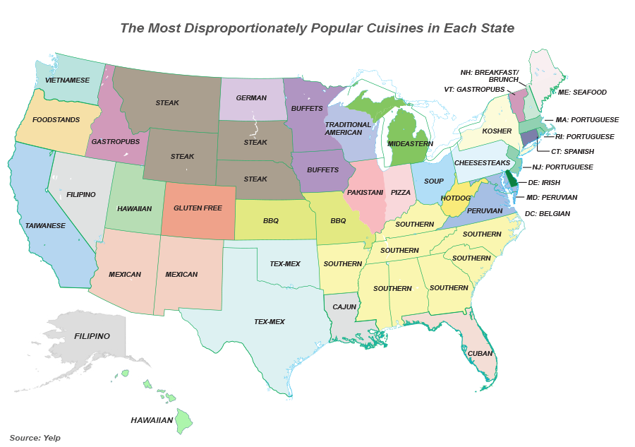 Popular Cuisines In Each US State All About America - Ethnic restaurants in the us map