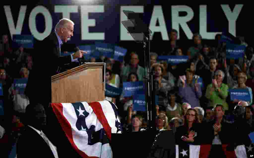 Vice President Joe Biden speaks at a campaign rally at the Municipal Auditorium in Sarasota, Florida, October 31, 2012.