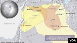 Islamic State, area of control in Syria and Iraq, Oct. 15, 2014