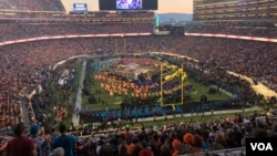 Superbowl halftime show in San Francisco, California as the Super Bowl 50 football game is being played Sunday night, Feb. 7, 2016.