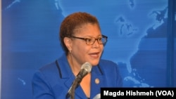 Congresswoman Karen Bass speaking at VOA panel on the Chibok girls