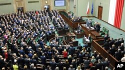 The new parliament holds its first session Nov. 12, 2015, in Warsaw, Poland.