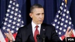 Presiden Obama dalam pidatonya yang disiarkan televisi ke seluruh Amerika, Senin malam waktu setempat.