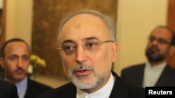 Iranian Foreign Minister Ali Akbar Salehi pictured in Nicosia, Cyprus on June 26, 2012.