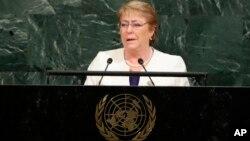 រូបឯកសារ៖ លោកស្រី Michelle Bachelet ប្រធានាធិបតីប្រទេសស៊ីលី ថ្លែងនៅក្នុងកិច្ចប្រជុំកំពូលនៃអង្គការសហប្រជាជាតិ កាលពីថ្ងៃទី២០ ខែកញ្ញា ឆ្នាំ២០១៧។