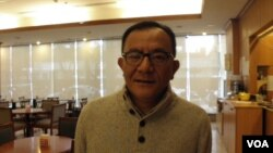 民进党立委高志鹏2月23日在立法院(美国之音申华拍摄)