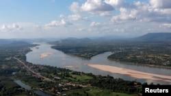 流經泰國和老撾邊界的湄公河。