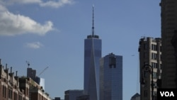 View of Freedom Tower from West Village in lower Manhattan, New York. (R. Taylor/VOA)