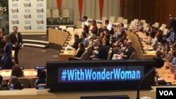 Wonder Woman was was appointed an Honorary United Nations Ambassador for the Empowerment of Women and Girls, Oct. 21, 2016, at the U.N. headquarters in New York. (M. Besheer/VOA)