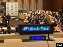 FILE - Wonder Woman was was appointed an Honorary United Nations Ambassador for the Empowerment of Women and Girls, Oct. 21, 2016, at the U.N. headquarters in New York. (M. Besheer/VOA)