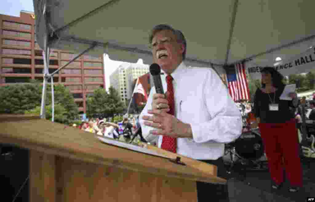 John Bolton, former United States Ambassador to the United Nations, speaks during the 'Energy Independence Day Tea Party' rally on Independence Mall in Philadelphia, on Monday July 4, 2011. (AP Photo/ Joseph Kaczmarek)