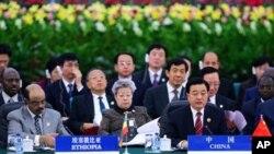 2006年在北京举行的中国非洲合作论坛峰会上,胡锦涛讲话 (资料照片)