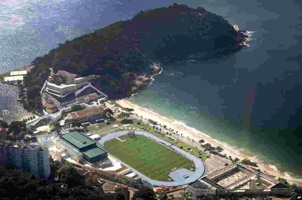 An aerial view of a training session of England's national soccer team at the Urca military base near Copacabana beach, Rio de Janeiro, Brazil, June 9, 2014.