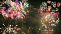 Fireworks over New York City on July 4th, 2012.