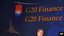 US Treasury Secretary Timothy Geithner arrives at a press conference following the G20 Finance Ministers and Central Bank Governors meeting in Gyeongju, 23 Oct 2010