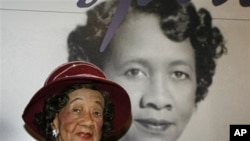 "In this March 14, 2008 file photo, Dorothy Irene Height, who served as President of the National Council of Negro Women for 40 years until 1997, sits in front of her featured story board inside the ""Freedom's Sisters"" exhibition at the Cincinnati Museum C"