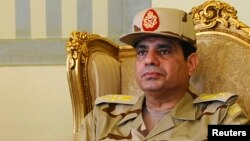 General Abdel Fattah al-Sissi is seen during a news conference in Cairo, May 22, 2013.