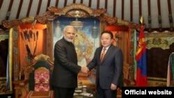 资料图片-2015年印度总理莫迪访问蒙古