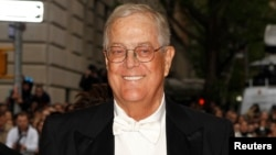 FILE - Businessman David Koch attends a Gala in Upper Manhattan, New York, May 5, 2014.