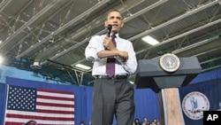 奥巴马星期二在对华盛顿郊外一所高校的大学生讲话