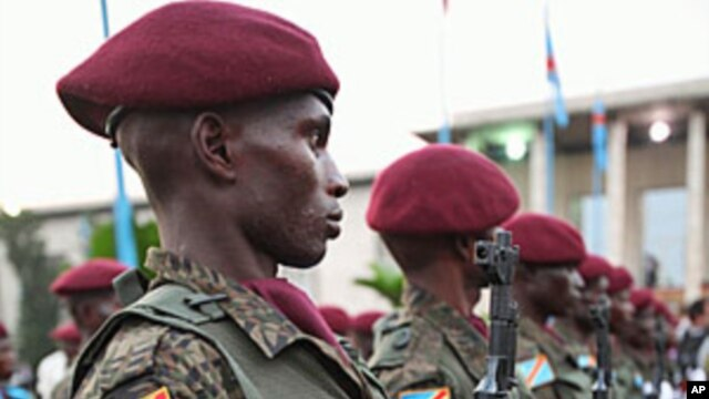 Congolese Republican Guards stand at a welcome ceremony for Belgium's King Albert II in Kinshasa, FILE June 28, 2010.