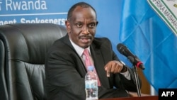 Rwanda's Minister of Foreign Affairs Richard Sezibera speaks during a press conference in Kigali, March 5, 2019.