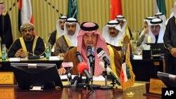 沙特外交大臣法塞尔3月4日在利雅得举行的海湾合作组织会议上讲话