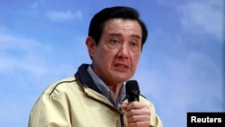 Taiwan president Ma Ying-jeou answers a question during a news conference after his trip to the disputed Itu Aba or Taiping island.