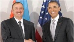 باراک اوباما به همراه الهام علی اف رییس جمهوری آذربایجان در نیویورک. ۲۴ سپتامبر ۲۰۱۱