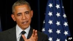 바락 오바마 미국 대통령이 5일 벨기에 브뤼셀에서 열린 주요 7개국 정상회담 기자회견에서 발언하고 있다.
