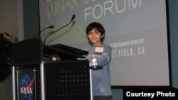 Tanishq Abraham is seen speaking at the NASA Lunar Science Forum at NASA Ames Research Center, Moffett Field, California.