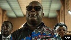 Felix Tshisekedi assistant à une cérémonie commémorative le 1er février 2018 à Kinshasa. Le corps de son père Etienne Tshisekedi n'a pas encore été rapatrié.