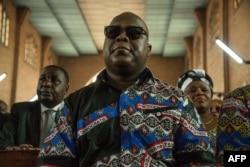 លោក Felix Tshisekedi កូនប្រុសរបស់មេបក្សប្រឆាំងកុងហ្គោ Etienne Tshisekedi ដែលបានស្លាប់ មកចូលរួមពិធីរំឭកដល់សពឪពុកលោក កាលពីខែកុម្ភៈ ឆ្នាំ២០១៨ នៅទីក្រុងគីនស្ហាសា។