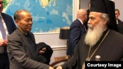 李柏光今年2月7號在美議員辦公室會見來自耶路撒冷的東正教大主教