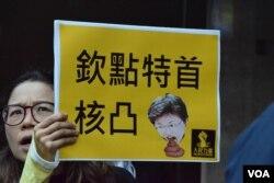 示威者高舉諷刺林鄭月娥的標語。(美國之音湯惠芸攝)