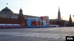 去年5月9日阅兵前夕的莫斯科红场。 (美国之音白桦拍摄)