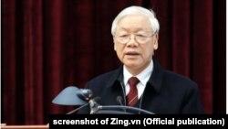 Tổng bí thư-Chủ tịch nước Nguyễn Phú Trọng phát biểu tại Ban Nội chính Trung ương hôm 22/1. Việt Nam chưa lên tiếng trước các tin đồn về tình hình sức khỏe của ông Trọng.